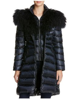 Camille Mongolian Fur Trim Down Coat