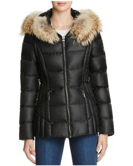 Nikki Fur Trim Short Down Coat