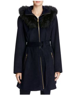 Fur Hood Fit-and-flare Coat