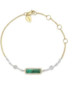 14k Yellow And White Gold Emerald Bracelet With Diamonds