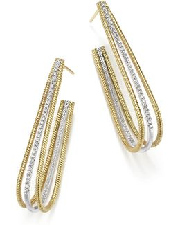 14k Yellow And White Gold Elongated Open Hoop Earrings With Diamonds