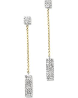 14k Yellow And White Gold Diamond Rectangle Dangle Earrings