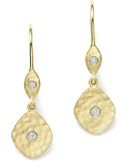 14k Yellow Gold Kite Disc Earrings With Diamonds