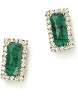 14k Yellow Gold Emerald Rectangle Stud Earrings With Diamonds