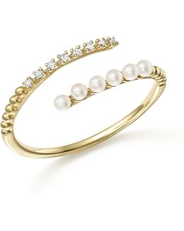 14k Yellow Gold Diamond And Cultured Freshwater Pearl Ring