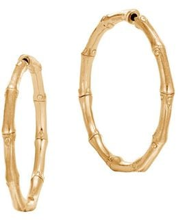 18k Yellow Gold Bamboo Medium Hoop Earrings