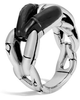 Sterling Silver Bamboo Ring With Black Onyx