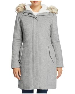 Striccato Wool Faux Fur Trim Coat