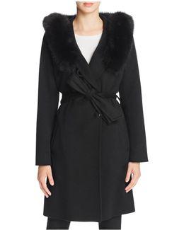 Fur Hood Wool & Cashmere Wrap Coat