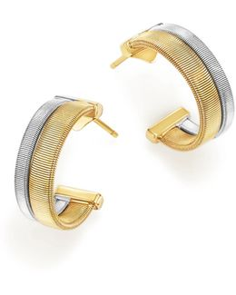 18k Yellow And White Gold Masai Two Row Hoop Earrings