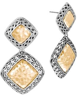 Hammered 18k Yellow Gold And Sterling Silver Classic Chain Drop Earrings