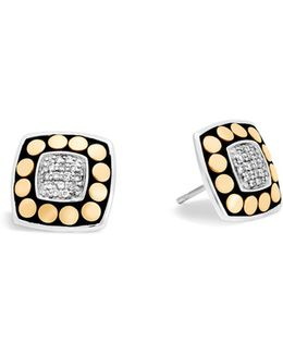18k Yellow Gold And Sterling Silver Dot Stud Earrings With Diamonds