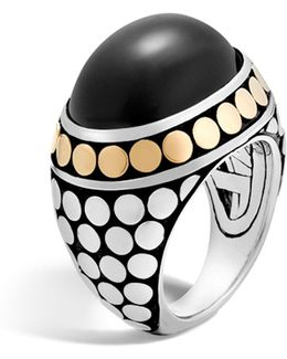 18k Yellow Gold And Sterling Silver Dot Dome Ring With Black Onyx