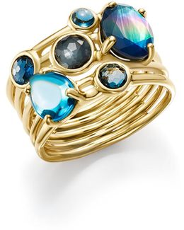 18k Gold Rock Candy® Gelato Multi Band Cluster Ring In Midnight Rain