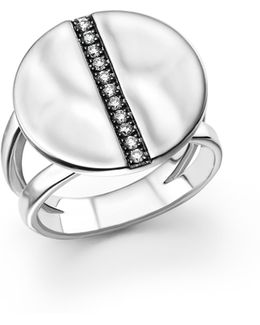 Sterling Silver Sensotm Split Band Disc Ring With Diamonds