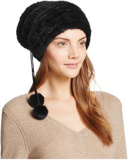 Pom-pom Knit Mink Fur Hat
