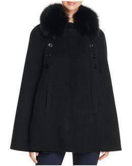 Fox Fur Collar Wool & Cashmere Cape
