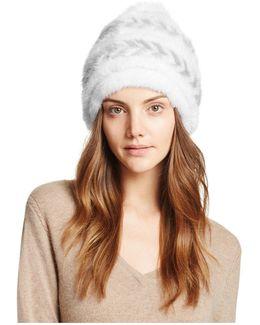 Fox Fur Pom-pom Knit Mink Fur Hat