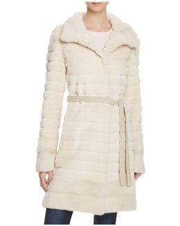 Grooved Sheared Mink & Long Hair Mink Fur Coat