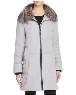 Fox Fur Collar Puffer Coat