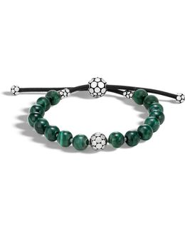Sterling Silver Dot Bead Bracelet With Malachite