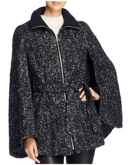 Belted Tweed Cape Coat