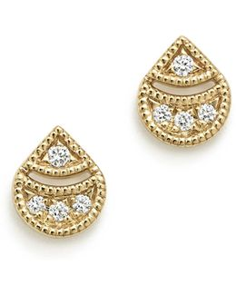14k Yellow Gold Rochelle Jo Teardrop Diamond Earrings