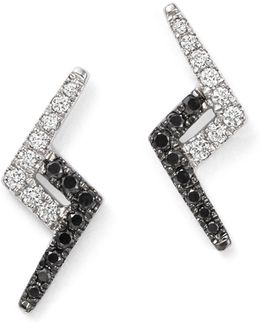 14k White Gold Aria Selene Lightning Bolt White And Black Diamond Earrings