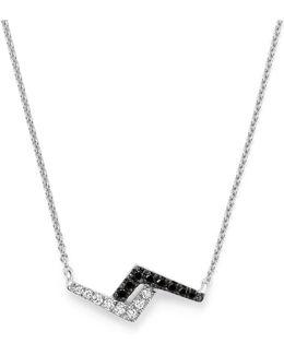 "Dana Rebecca 14k White Gold Aria Selene Lightning Bolt Pendant Necklace With White And Black Diamonds, 16"""