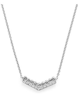 "Dana Rebecca 14k White Gold Poppy Rae V Pendant Necklace With Diamonds, 16"""