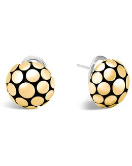 18k Gold And Sterling Silver Dot Large Ball Earrings
