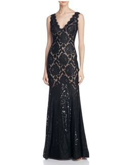 V-back Lace Gown