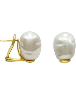 Simulated Baroque Pearl Stud Earrings
