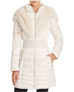 Faux Fur Trim Satin Puffer Coat