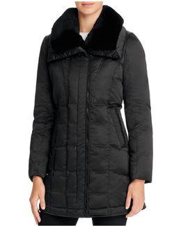 Adrianna Rabbit Fur Trim Down Coat