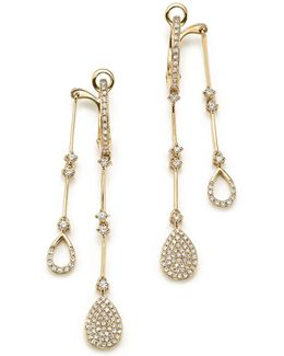 14k Yellow Gold Diamond Micro Pavé Front-back Drop Earrings