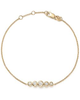 14k Yellow Gold Diamond Bezel Bracelet