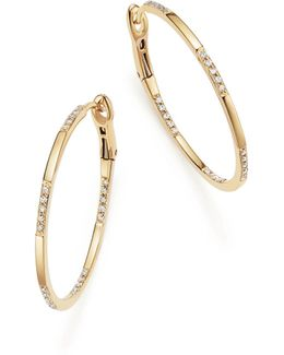 14k Yellow Gold Diamond Micro Pavé Hoop Earrings