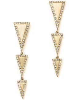 14k Yellow Gold Diamond Geometric Drop Earrings