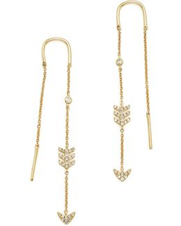 14k Yellow Gold Diamond Micro Pavé Drop Chain Earrings