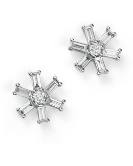 14k White Gold Diamond Round And Baguette Stud Earrings