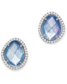 14k White Gold Sapphire And Moonstone Doublet Stud Earrings With Diamonds