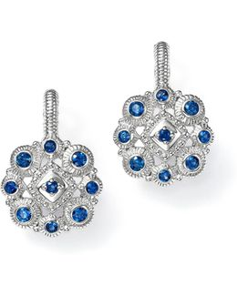 Sterling Silver La Petite Snowflake Cluster Earrings With Sapphire