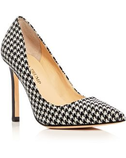 Carra Houndstooth Pointed Toe Pumps