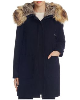 Zip Front Faux Fur Hood Coat