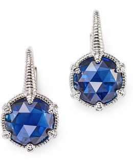 Sterling Silver Eclipse Earrings With Lab-created Blue Corundum