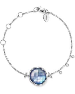 14k White Gold Blue Sapphire And Moonstone Doublet Bracelet With Diamonds