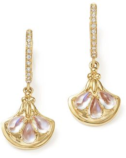 18k Yellow Gold Lotus Drop Earrings With Royal Blue Moonstone And Diamonds