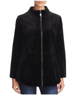 Leather Trim Sheared Mink Fur Coat