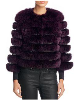 Leather Trim Saga Fox Fur Coat